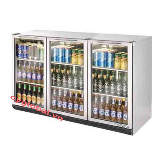Tủ ướp lạnh chai 3 cánh kiếng 278 chai Williams BC3SS-U