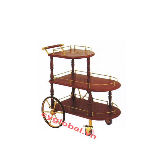 Xe đẩy rượu bằng gỗ 2 tầng XD-51
